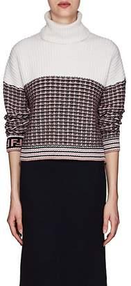 Fendi Women's Logo-Cuff Wool-Cashmere Turtleneck Sweater - Pink