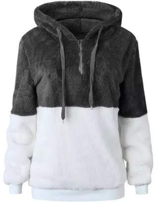 Goodnight Macaroon 'Dabria' Two-Tone Fleece Half Zip Hoodie (5 Colors)