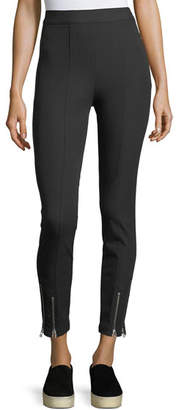 Alexander Wang Stretch-Cotton Fitted Pants w/ Ankle Zippers