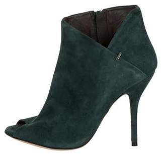 Calvin Klein Collection Suede Peep-Toe Booties Turquoise Suede Peep-Toe Booties