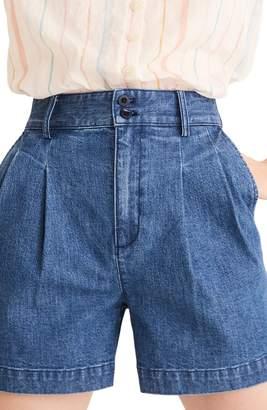 Madewell Pleated High Waist Denim Shorts