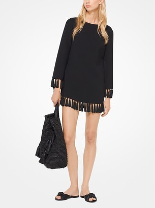 Michael Kors Double-Face Wool Tricotine Tassel Tunic