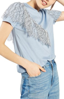 Women's Topshop Lace Ruffle Tee $45 thestylecure.com