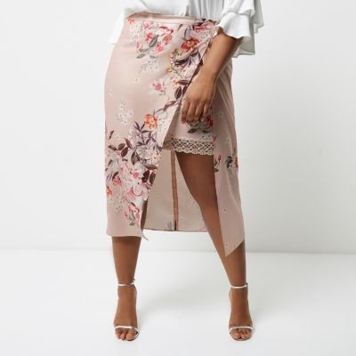River Island River Island Womens Plus pink floral print wrap midi skirt