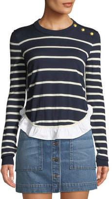 Veronica Beard Ollie Striped Wool Flounce Sweater