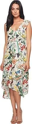 Nicole Miller Women's Safari Foliage Hi-Low Ruffle Dress