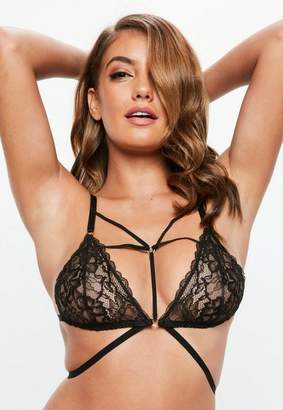 Missguided Black Ring Detail Soft Harness Lace Bra