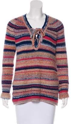 Rebecca Minkoff Lace-Up Striped Sweater