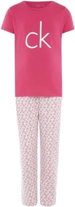 Calvin Klein Girls Logo T shirt and Woven Bottoms Set