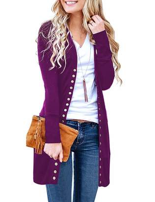 Express ED Women's Long Sleeve Snap Button Down Solid Color Knit Ribbed Neckline Cardigans