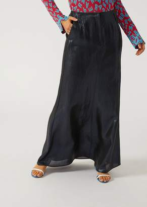 Emporio Armani Long Skirt In Laminated Gauze