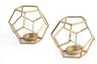Wrought Studio Sparkling Polyhedron 2 Piece Glass/Metal Tealight Holder Set