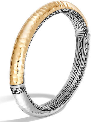 John Hardy Classic Chain Hammered Medium Oval Hinged Bangle, Size Medium