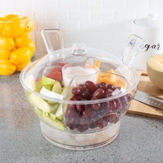 Ice Bowl-Large Cold Server with Lid, Dip Bowl, Serving Utensils, Dividers, and Ice Compartment-For Chips, Punch, Fruit, Salad or by Classic Cuisine