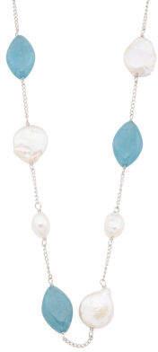 Sterling Silver Blue Quartz Pearl Endless Necklace