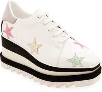 Stella McCartney Elyse Stars Glitter Platform Sneakers