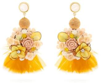 Lizzie Fortunato Flower And Feather Embellished Earrings - Womens - Yellow
