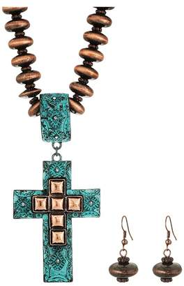 M&F Western Copper Beaded Cross Necklace/Earrings Set Jewelry Sets