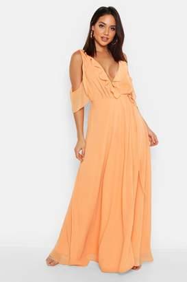 boohoo Chiffon Frill Cold Shoulder Wrap Maxi Dress