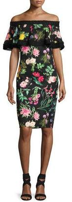 Tadashi Shoji Off-the-Shoulder Floral Cocktail Dress, Multipattern $295 thestylecure.com
