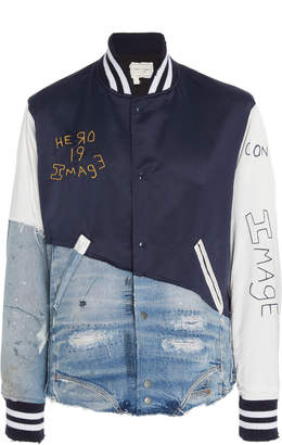 Greg Lauren Distressed Cotton-Blend Varsity Jacket