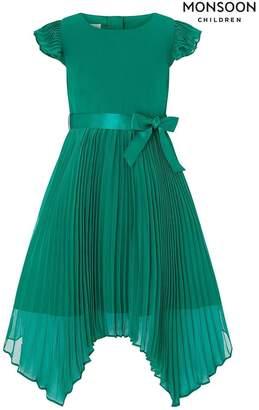 Monsoon Girls Children Green Rubina Pleat Dress - Green
