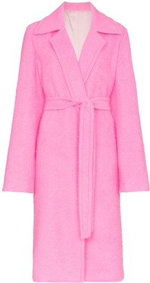 Helmut Lang disco pink belt tie wool coat