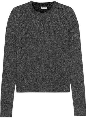 Metallic Ribbed-knit Sweater - Silver