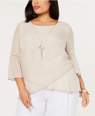 JM Collection Plus Size Crossover-Hem Necklace Top, Created for Macy's