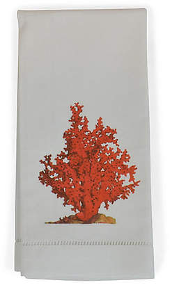 Set of 2 Red Coral Guest Towels - White - The French Bee