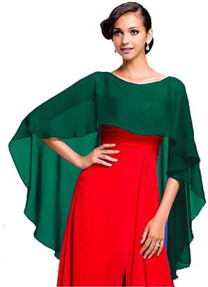 Baiqiya Wedding Capes Womens Soft Chiffon Shrug Bridal Long Shawl and Wraps