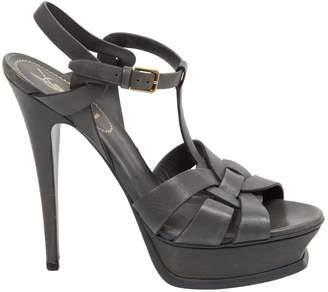 Saint Laurent Tribute Grey Leather Heels