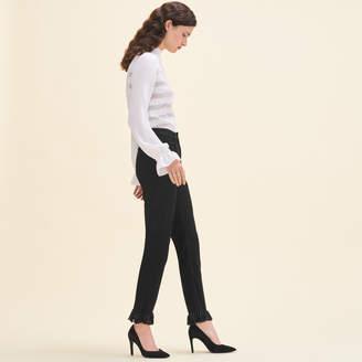 Maje Straight-cut fringed jeans