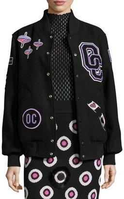 Opening Ceremony Leather-Trim Logo Varsity Jacket, Black/Multicolor $495 thestylecure.com