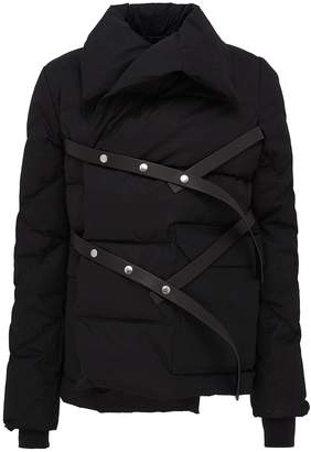 Rick Owens Leather strap wrap down puffer jacket