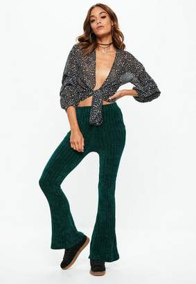 Missguided Green Chenille Flare Leg Pants