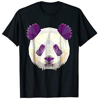 Purple Panda Head Geometric Shape T-Shirt