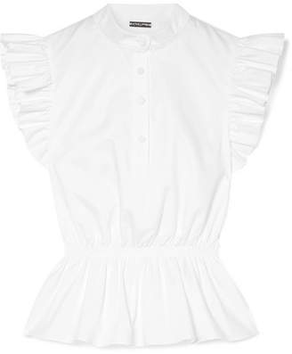 ADAM by Adam Lippes Ruffle-trimmed Cotton-poplin Peplum Top - White