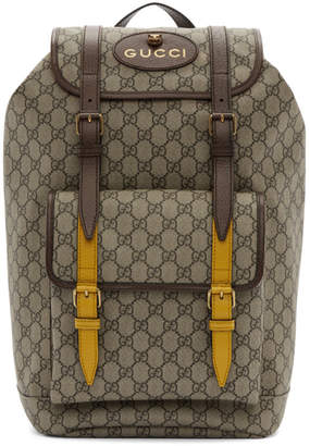 Gucci Beige & Brown GG Supreme Flap Backpack