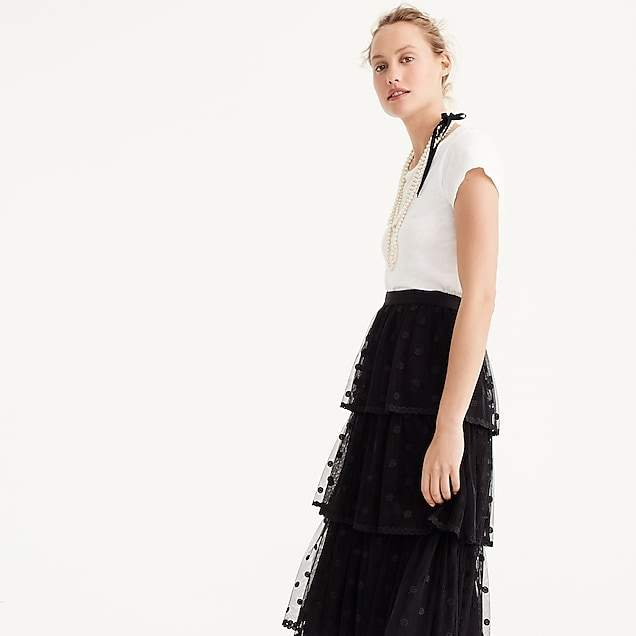 Tiered skirt in polka-dot embroidered tulle