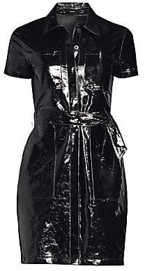 J Brand Women's Lucille Patent Leather Belted Shirtdress