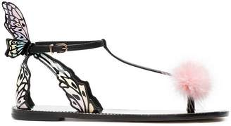 Sophia Webster Black Talulah 10 Butterfly Wing Flat Sandal