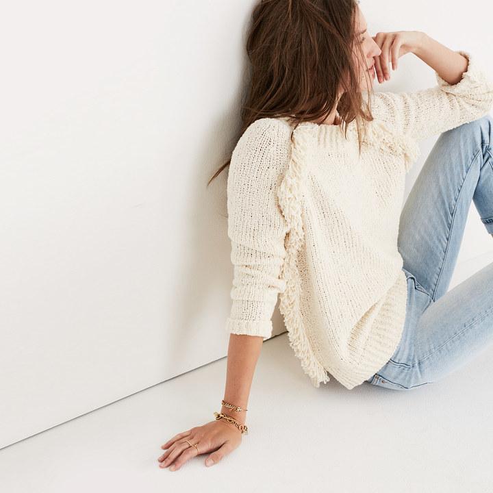 Loop-Edge Pullover Sweater