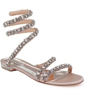 Badgley Mischka Paz Crystal Ankle Wrap Sandal