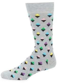Happy Socks Diamond-Print Crew Socks