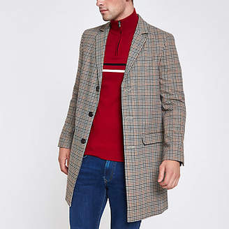River Island Brown check smart overcoat