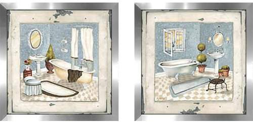 Ophelia & Co. Blue Bath' 2 Piece Framed Acrylic Painting Print Set Under Glass