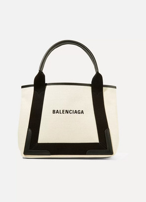 Balenciaga Leather-trimmed Logo-print Canvas Tote - Ecru