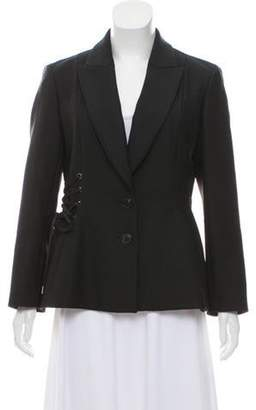 Christian Dior Lace-Up Virgin Wool Blazer Black Lace-Up Virgin Wool Blazer
