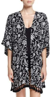 Seafolly Palm Print Kimono Jacket Coverup, Black $142 thestylecure.com
